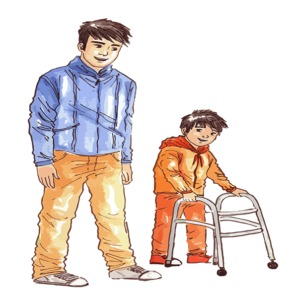 Home Care orker with small child using a walker